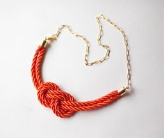 NEW Modern Red Nautical Knot  Rope Necklace with golden by pardes, $36.00