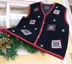 Woolrich Boiled Wool Lined Snowflake Vest XL Black White Red #Woolrich #VestSleeveless