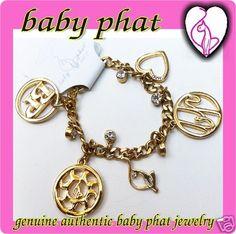 Genuine Baby Phat Jewelry Gold Charm Bracelet w Logo Charms | eBay