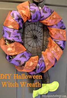 Easy DIY Halloween Witch Wreath {So easy even I can do it!}