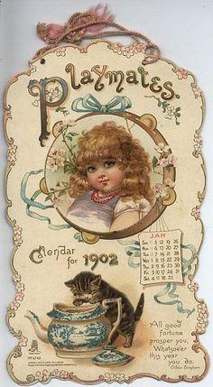 Playmates Calendar for 1902 Éphémères Vintage, Images Vintage, Vintage Labels, Vintage Ephemera, Vintage Pictures, Vintage Paper, Vintage Postcards, Vintage Prints, Etiquette Vintage