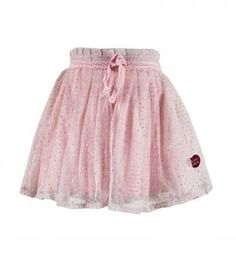 100% cotton knit solid color pull-on skirt with top sparkly nylon lurex mesh overlay, bottom polyester mesh overlay, elasticized waistband, cotton lace trim around waist & front bow.  Length finishes below knee.  Machine washable.  Imported.