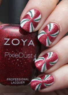 Adventures In Acetone: Christmas Nail Art: Textured Peppermint Swirls!