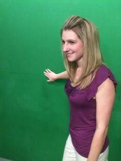 Meteorologist Kara James pointing at nothing. Just kidding!