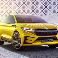 Surprisingly sleek for a Skoda. The Kamiq small crossover is without a shadow of a doubt Skoda's big debut this week at the Geneva Motor Show, but the Vision iV Electric Motor, Electric Cars, Volkswagen Group, Combustion Engine, Geneva Motor Show, Latest Cars, Two By Two, Sporty, Concept
