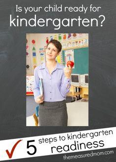 "5 steps to kindergarten readiness - plus a free ""Ready for Kindergarten"" checklist"