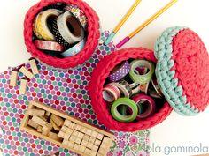 Lola Gominola: Cestos de trapillo Bonbon, Crochet Baby, Bushel Baskets, Trapillo
