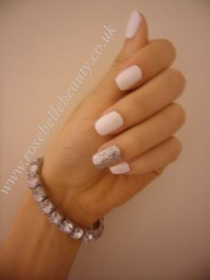 Cream Puff Zillionaire White CND Shellac Ring Finger Manicure by Rosé Belle Beauty