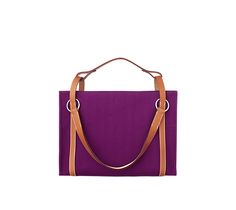 "Hermes tote bag in anemone purple grand chevron weave and natural hunter cowhide handles Long handles or short sliding strap for carrying Measures 15.5"" x 11.5"" x 6.5"""