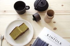 Japanese green tea kastera cake with Kuori cup and Tutu Wood Container #Kinfolk