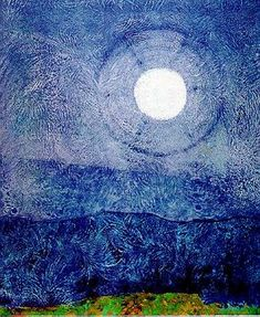 """Max Ernst: """"Mond Guter Dinge"""" Seems to be inspired by Van Gogh's """"Starry Night""""."""