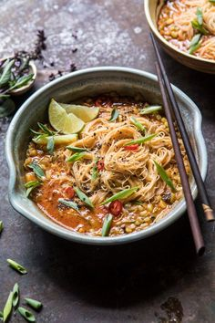 Saucy Coconut Curry with Rice Noodles and Garden Vegetables. - Saucy Coconut Curry with Rice Noodles and Garden Vegetables Soup Recipes, Vegetarian Recipes, Dinner Recipes, Cooking Recipes, Healthy Recipes, Veggie Recipes, Clean Eating Snacks, Healthy Eating, Healthy Rice