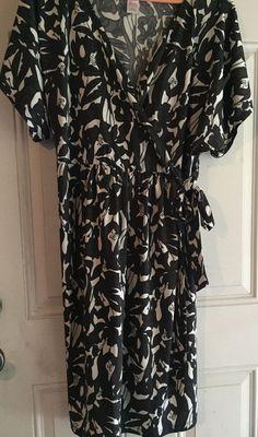 Tessuto Dress Women Size 3X Black Brown Blue White Floral Faux Wrap Lightweight…