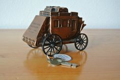 Vintage Stagecoach Metal Coin Bank with by DomesticTitanVintage