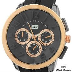 NEW AUTHENTIC MARK NAIMER 51MM ROSE GOLD STAINLESS STEEL QUARTZ WATCH 1 YR WRNTY!!! Under $50!