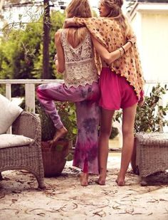 love the comfy pants with lace top