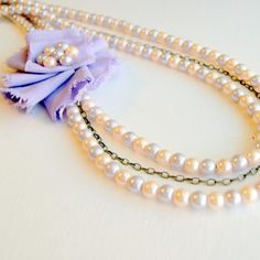 Lavender Flower, Pearls and Chain Necklace  luv the flowers on the side!