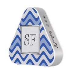 Funky Wavy Blue White Stripe Monogram Bluetooth Speaker - simple gifts custom gift idea customize