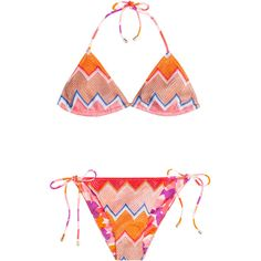 Missoni Mare Reversible Knit Triangle Bikini ($280) ❤ liked on Polyvore featuring swimwear, bikinis, bathing suit, swimsuit, multicolor, halter bikini top, halter bikini, bikini swimsuit, triangle swim suits and halter top