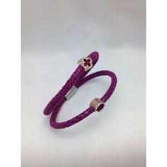 Pulsera de piel rosa y acero con circonitas de Lineargent/Pulsera de acero http://relojesplatayacero.com/