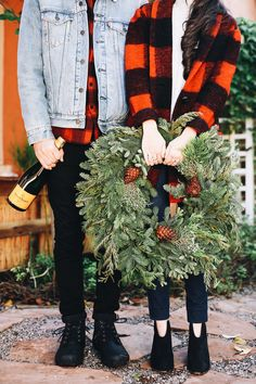 If there's anytime to match with your significant other in some buffalo plaid, it's for a holiday party.