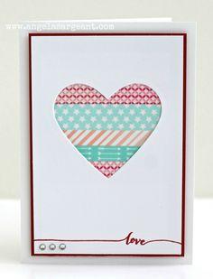 Washi Tape Valentine's Day Card Valentine Greeting Cards, Greeting Cards Handmade, Cute Cards, Diy Cards, Card Making Inspiration, Making Ideas, Washi Tape Cards, Beautiful Handmade Cards, Card Sketches