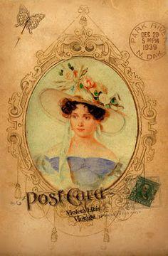 Violeta lilás Vintage: Cartões Postais Vintage Damas Antigas