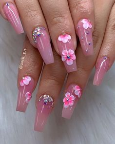 Pretty Crystal Nails Art Designs in Summer 2019 - Letme Beauty 3d Nail Designs, Cute Acrylic Nail Designs, Summer Acrylic Nails, Best Acrylic Nails, Spring Nails, Summer Nails, 3d Flower Nails, 3d Rose, Fire Nails