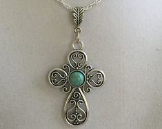 Silver Cross and Turquoise Bead Necklace - Edit Listing - Etsy
