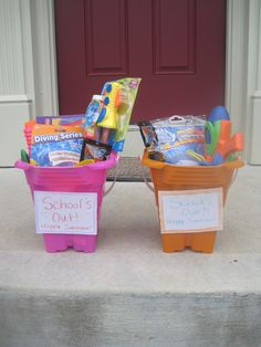 Welcome the kids home from their last day of school with summer treats. gift, idea, fun treat, schools, summer kids fun, babi, homes, kiddo, cute treats for summer