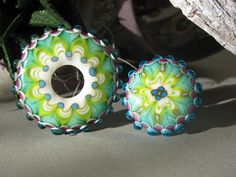 Handmade lampwork focal bead in spring colors like by FlameJewels, $45.00