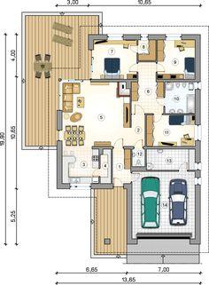 Rzut parteru projektu Winston X House Layout Plans, Bedroom House Plans, Dream House Plans, Modern House Plans, Small House Plans, House Layouts, House Floor Plans, Circle House, Small Villa