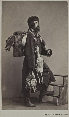 Russian people on photo from century. This guy sells game meat on the streets. Old Pictures, Old Photos, Vintage Photographs, Vintage Photos, Mode Russe, Snow Maiden, Russian Revolution, Winter's Tale, Imperial Russia