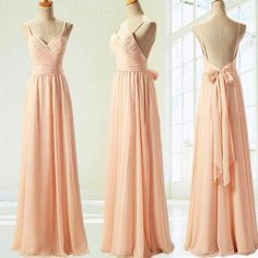 Spaghetti Straps Open Back Peach Chiffon Long Prom Dress,V Neck Sample Blush Evening Dresses Prom Gown ,Custom Made Bridesmaid Dress