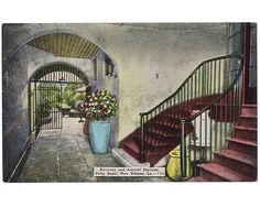 This vintage linen postcard, circa 1930s, features what is today Brennan's restaurant on Rue Royal in the French Quarter of New Orleans. The building was originally the home of the Morphy family, of which Paul Morphy was the chess champion in the late 1850s. The family sold the property in 1891, and Brennan's opened in the location in 1946.