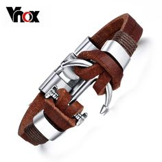 Brown Genuine Leather Bracelets Charm Mens Jewelry Anchor Male Accessories