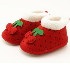 Winter Baby Shoes First Walkers Infant Girls Cherry Boots Toddler Soft Snow Crib Shoes Newborn Winter Warm Booties #Affiliate