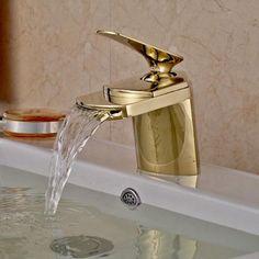 Gold Brass Bathroom Sink Faucet Waterfall Basin Mixer Tap Deck Mount 1 Handle in Home, Furniture & DIY, Bath, Taps | eBay