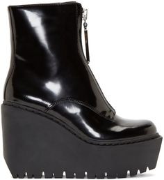 Opening Ceremony - Black Patent Leather Luna Wedge Boots