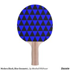 Modern Black, Blue Geometric Triangles Ping-Pong Paddle by M to the Fifth Power
