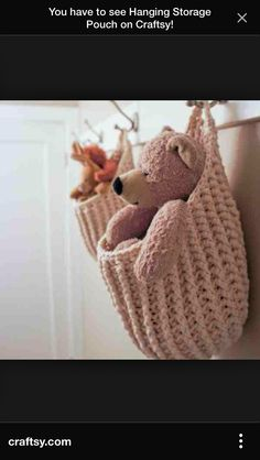 You have to see Hanging Storage Pouch on Craftsy! - Looking for crocheting project inspiration? Check out Hanging Storage Pouch by member knotsewcute. Crochet Home, Love Crochet, Crochet Crafts, Yarn Crafts, Crochet Baby, Knit Crochet, Patron Crochet, Double Crochet, Crochet Stitches