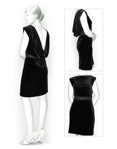 Dress With Open Back - Sewing Pattern #5846. Made-to-measure sewing pattern from Lekala with free online download.