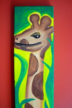 dscanvascreations - DS Canvas Creations - on Etsy Awesome Art, Cool Art, Giraffe Painting, Painting For Kids, Craft Ideas, Paintings, The Originals, Canvas, Reading