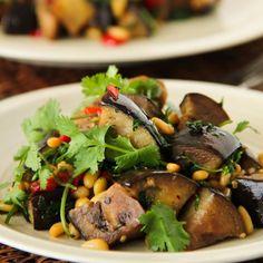 Warm Salad with Eggplants, Fresh Cilantro