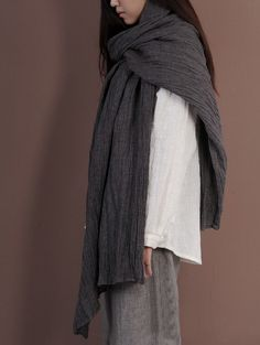 Great Wrinkled Linen Scarf Great Wrinkled Linen Scarf gift for her - $46.00 : Original Fashion in Comfortable Fibers - Organic Cotton, Linen, Silk, Cashmere, Bamboo and More | Zeniche.com