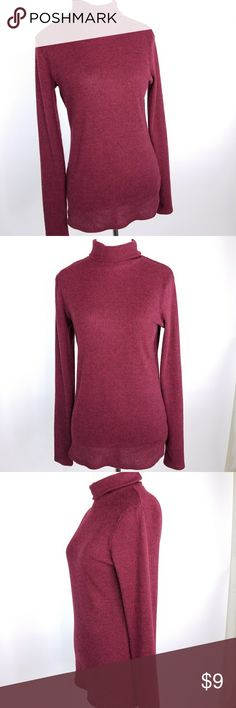 Mossimo Ribbed Turtleneck Size Large Mossimo Supply Co ribbed pattern women's size large maroon sweater.  Material  95% Polyester 5% Spandex  Care instructions  Turn inside out, machine wash cold, tumble dry low.  Measurements are in inches, approximate and are taken with the garment lying flat. Sleeve measured from mid-collar to cuff  Sleeve 31 Length 27 Chest 16  Thanks for looking and please check out my store for other great items! Mossimo Supply Co. Sweaters Cowl…