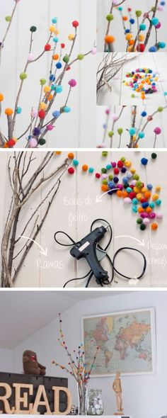 Rengarenk ponponlarla kuru kuru dallar bile renkli bir dekorun parçası olabilir.
