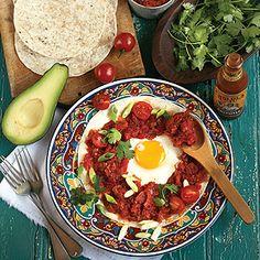 Eggs in Purgatory Recipe - Cooking Light Egg Recipes For Dinner, Easy Egg Recipes, Paleo Dinner, Healthy Dinner Recipes, Vegetarian Recipes, Healthy Meals, Egg Recipes Indian, Weeknight Recipes, Healthy Breakfasts
