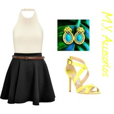 """Yellow look"" by mariantyagua on Polyvore // https://www.facebook.com/MYAccesorios1"