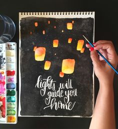 Lantern watercolor and lettering by Max Garcia